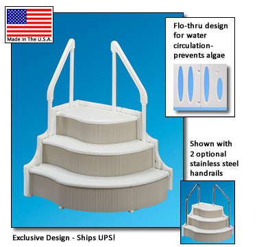 Swimming pool steps grand entrance inground pool steps - Removable swimming pool handrails ...