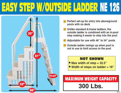the step and ladder entry system is backed by a 3 year warranty the unit ships ups or fedex so it is economical to purchase hurry mfr rebate ends soon - Above Ground Pool Outside Steps