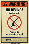 Warning No Diving With Rescue Phone Number