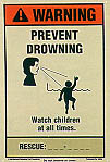 Warning Prevent Drowning With Rescue Phone Number