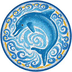 1232 - Medium Mosaic Single Dolphin - 1232