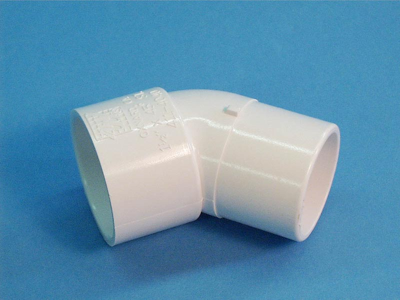 411-4040 - Fittings PVC,45 Degree Ell,WATERW,1-1/2 Inch S x 1-1/2 Inch Spg - 411-4040