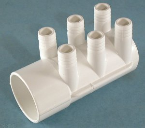 672-7180 - Manifold PVC,Water,WATERW,2 Inch S x Dead End x (6) 3/4 Inch SB Ports - 672-7180