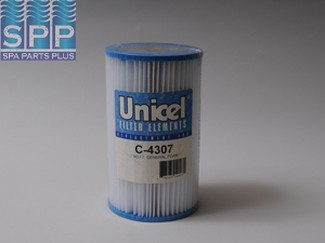 C-4307 - Filter Cartridge,UNICEL,7 Sq Ft,4-3/4 Inch OD x 8 Inch Long - C-4307 - Height: 8 - Diameter: 4-3/4 - TopID: 1-3/4 - BottomID: 1-3/4