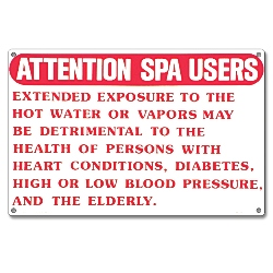 PM40365 - Spa Safety Sign - Attention Spa Users - 40365 - PM40365