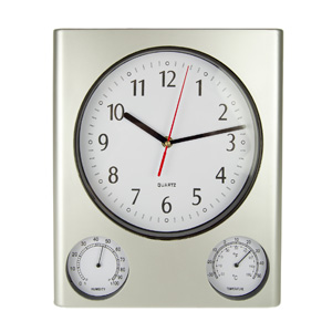 PM52602 - 12.5 Inch Clock/Thermometer/Hygrometer - Silver - 52602 - PM52602
