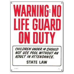 PM40323 - Pool Safety Sign - Warning No Lifeguard On Duty - 40323 - PM40323