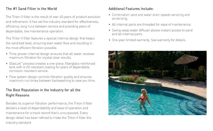 pentair triton ii sand filter - for inground pools
