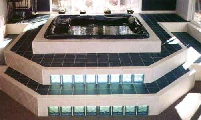 Glass Block Step Spa