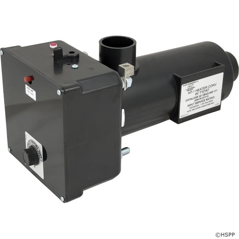 46-320-1100 - Flo Thru Heater - L Shape, Brett Aqualine HT-1, 230v, 5.5kW, w/T-stat - Complete with 5.5kW/1.375kW, 230v/115v convertible element - T-stat, hi limit, pressure switch, and heater on indicator light - 90-221111 - 46-320-1100
